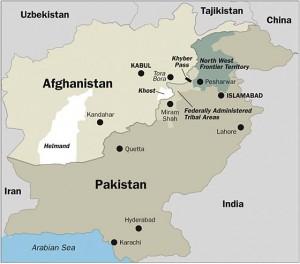 afghanistan-pakistan map borders